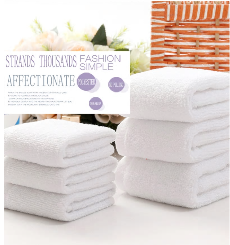 10pcs/lot Good Quality White Cheap Face Towel Small Hand Towels Kitchen Towel Hotel Restaurant Kindergarten Cotton Towel - Baths Planet
