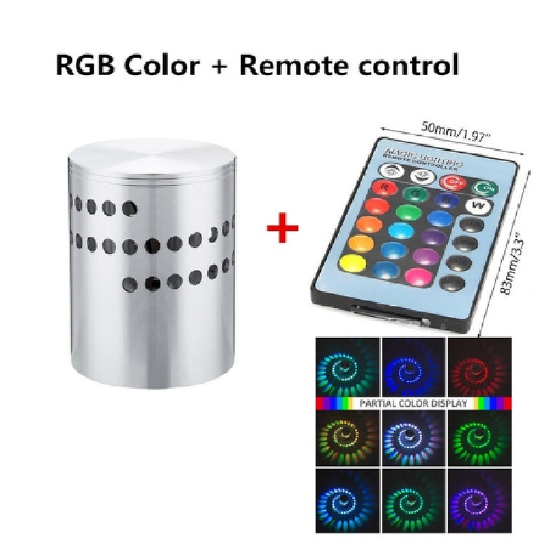 RGB Spiral Hole LED Wall Light Effect Wall Lamp With Remote Controller Colorful Wandlamp For Party Bar Lobby KTV Home Decoration - Baths Planet