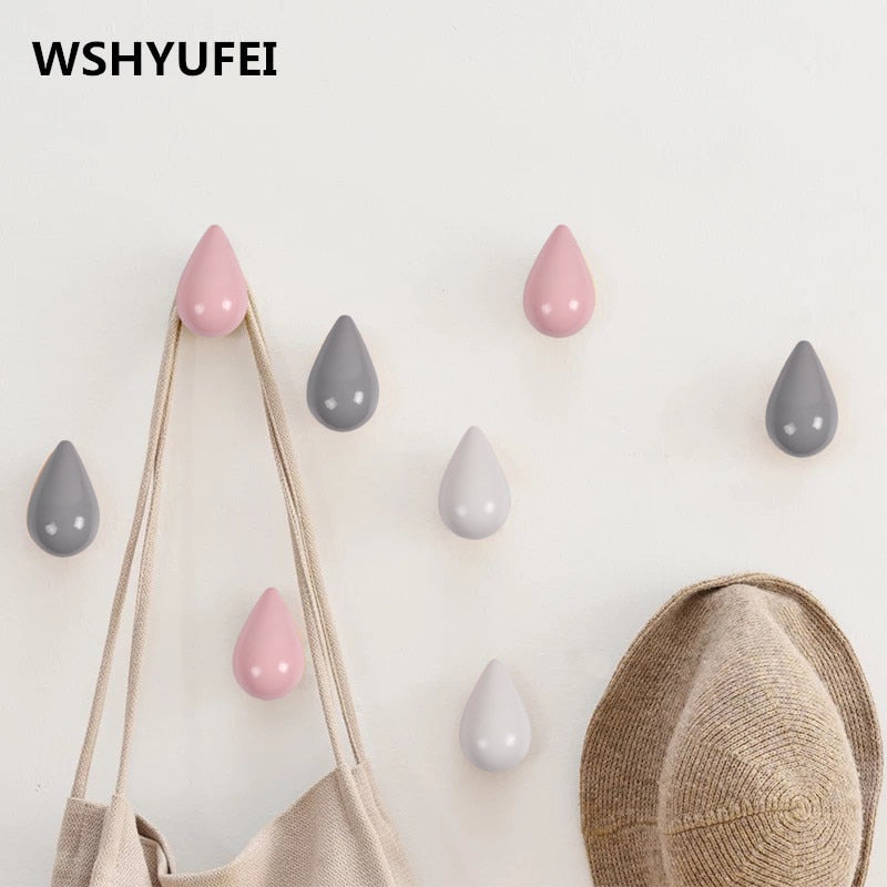 1 Pc Wood Wall Hanger Chic Water Drop Bathroom Door Coat Hat Single Hook Holder Home Storage Hooks Home Decoration - Baths Planet