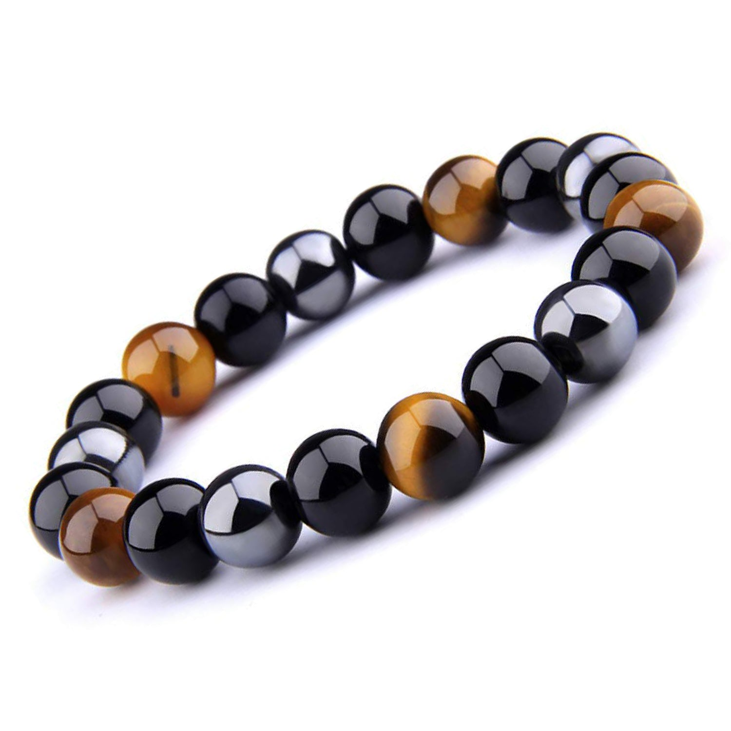 Tiger Eye + Obsidian + Hematite Triple Protection Bracelet