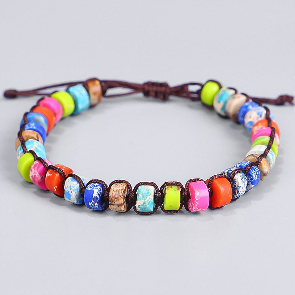 Hand-woven Colorful Emperor Stone Yoga Bracelet