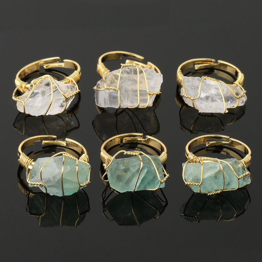 Natural Crystal Gold-plated Winding Open Ring