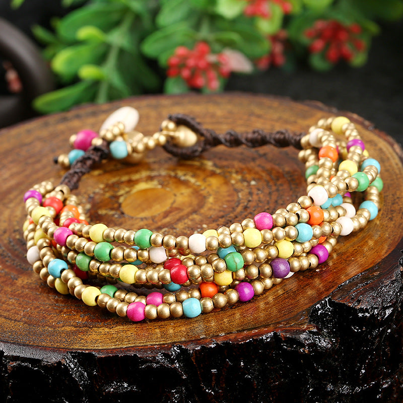 Semi-precious copper beads hand-woven multi-layered bracelet