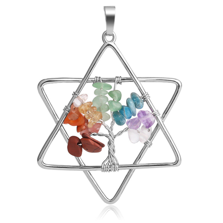 Six-pointed Star Winding Tree Of Life Pendant Seven Chakra Necklace