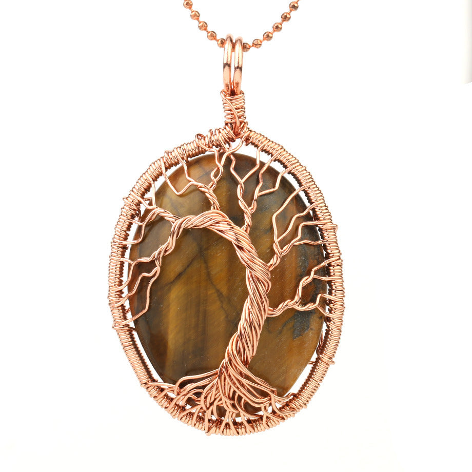 Winding Tree Of Life Natural Stone Crystal Necklace