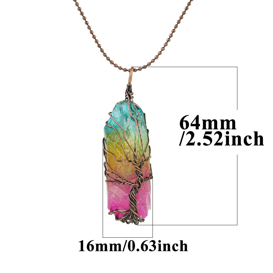 Natural Color Irregular Crystal Pendant Necklace