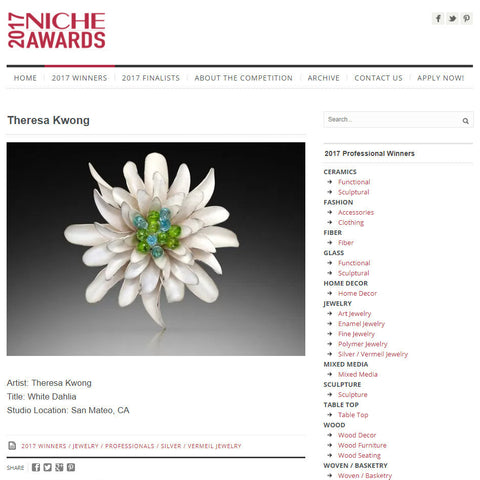 Theresa Kwong 2017 Niche Awards Winner in Silver Category