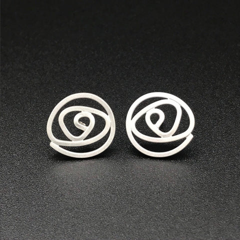Labyrinth Collection post earrings sterling silver spiral design