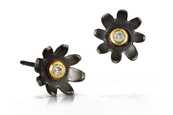 Eden Stud Post Earrings, oxidized sterling silver flowers, 18k gold bezels around VS grade diamonds