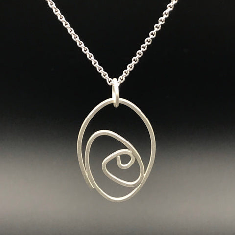 "Labyrinth Necklace, sterling silver on 16"" or 18"" sterling silver chain"