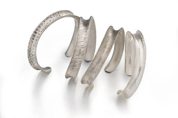 Radiate Wave Cuff Bracelets, sterling silver, choose textures of Confetti, Rain, Squares, Sand, comfortable cuffs