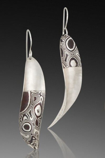 Radiate Asymmetrical Earrings, sterling silver & sterling-copper mokume gane dangles