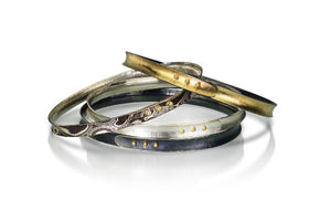 Slims Oval Bangles Bracelets, choice of 18k gold & sterling bimetal, mokume gane, sterling silver, oxidized sterling