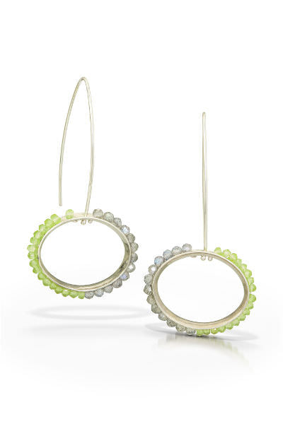 Slims Earrings, long dangles with faceted labradorite and peridot