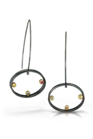 Slims Earrings, long dangles with oval shape fancy color sapphires in 18k gold bezel