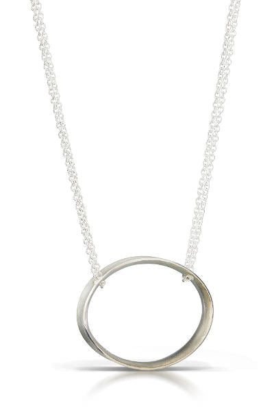 Slims Pendant Necklace, oval shaped pendant hanging from double chains, all sterling silver