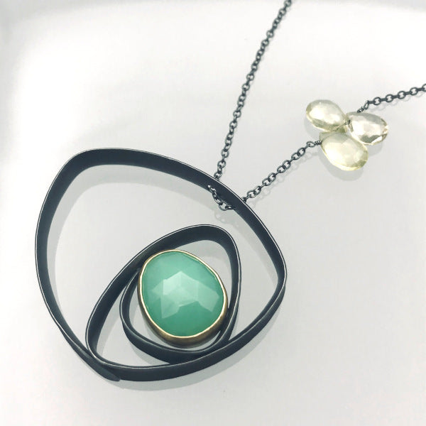 Glasgow Necklace with green chrysoprase and lemon quartz sterling silver 18k yellow gold 20 inch chain
