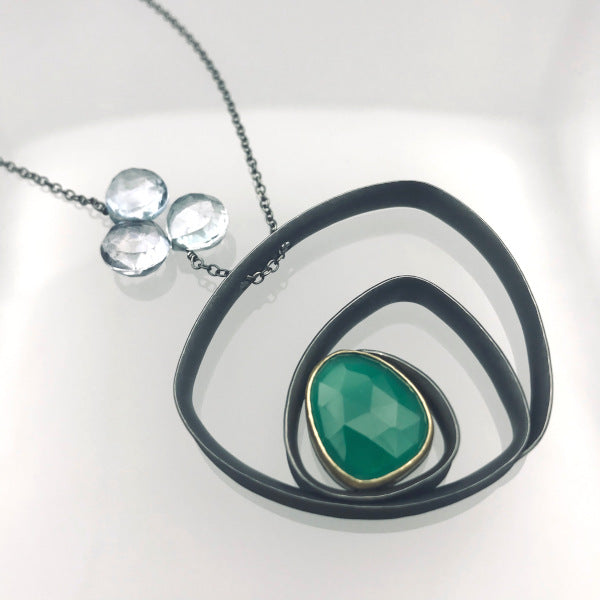 Glasgow Necklace rose cut green quartz and mystic topaz beads oxidized sterling 18k yellow gold