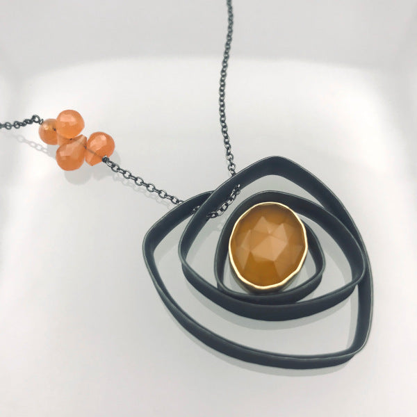 Glasgow Necklace with yellow chalcedony set in 18k gold orange carnelian beads oxidized sterling silver