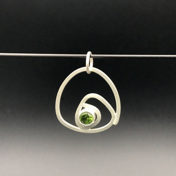 Labyrinth Charm for necklace or bracelet sterling silver peridot