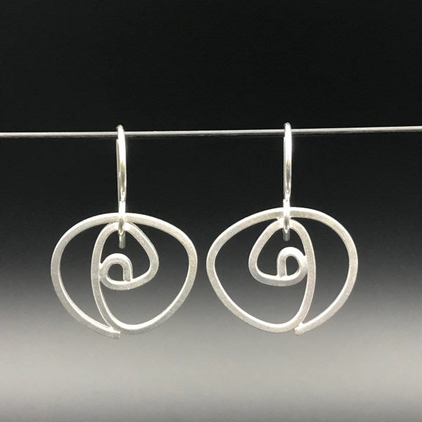 Labyrinth Earrings dangles sterling silver size small lightweight