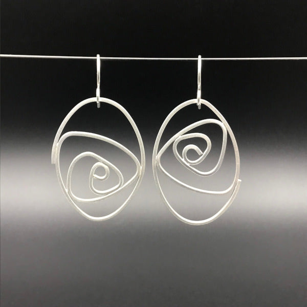 Labyrinth Earrings ellipse shaped dangles solid sterling silver lightweight size XL
