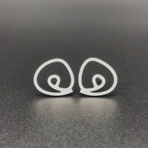 Labyrinth studs post earrings sterling silver