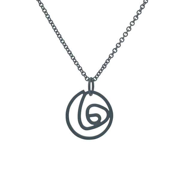 "Labyrinth Necklace Small oxidized sterling silver on sturdy 16"" or 18"" sterling silver cable chain"