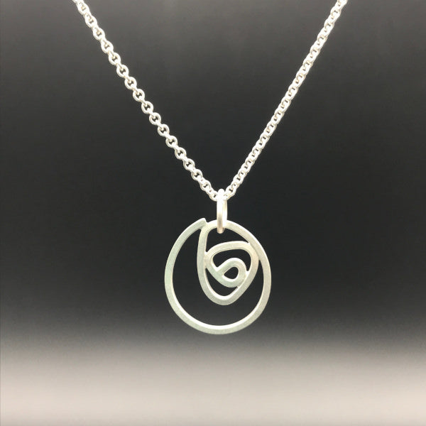 "Labyrinth Necklace Small natural sterling silver on sturdy 16"" or 18"" sterling silver cable chain"