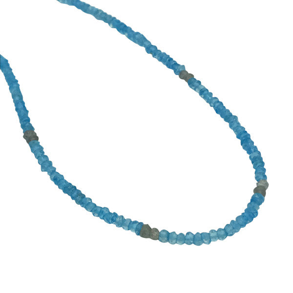 Gemstone Beaded Necklaces blue topaz and labradorite adjustable length