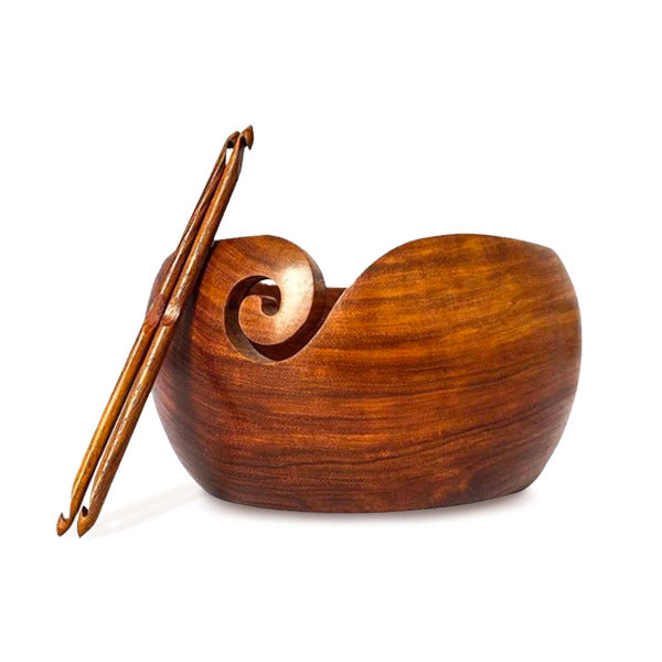 "Premium Rosewood Yarn Bowl Set 8""x4"" with 2 Crochet Hooks"