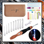 9 Interchangeable Crochet Needles with Sew Tools & Crochet Hook Case EARTHY BROWN - Complete Crochet Kit, Plastic Crochet Hooks 2.5mm-6.5m