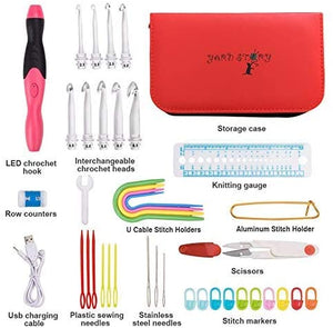 9 Interchangeable Crochet Hooks with Crochet Hook Case and Sewing Kit RED- Lighted Crochet Hooks Complete Set 2.5mm-6.5m