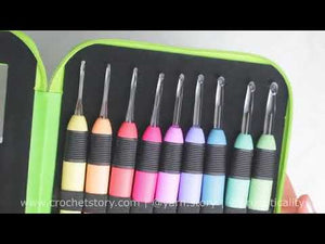 Load and play video in Gallery viewer, 9 Light Up Crochet Hooks Set - with Bonus Lighted Seam Ripper and Green Case