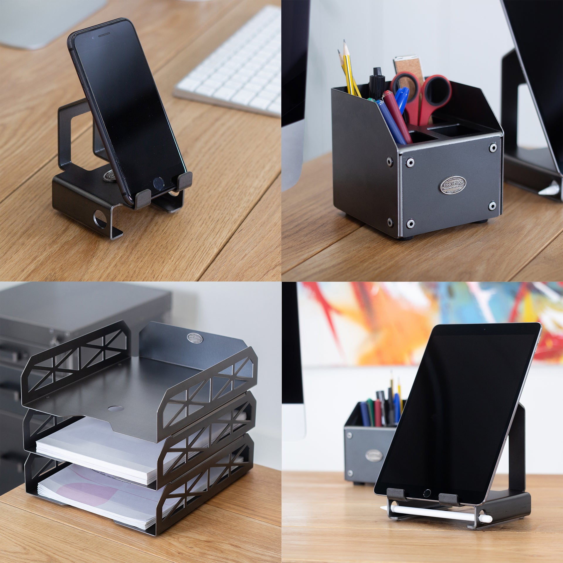 Package 4 - Mobile Phone Stand, Small Pen Tidy, Tablet Stand and A4 Paper Trays