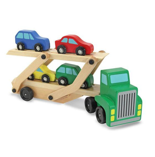 Car Carrier Truck & Cars Wooden Toy Set - souzu.co.uk