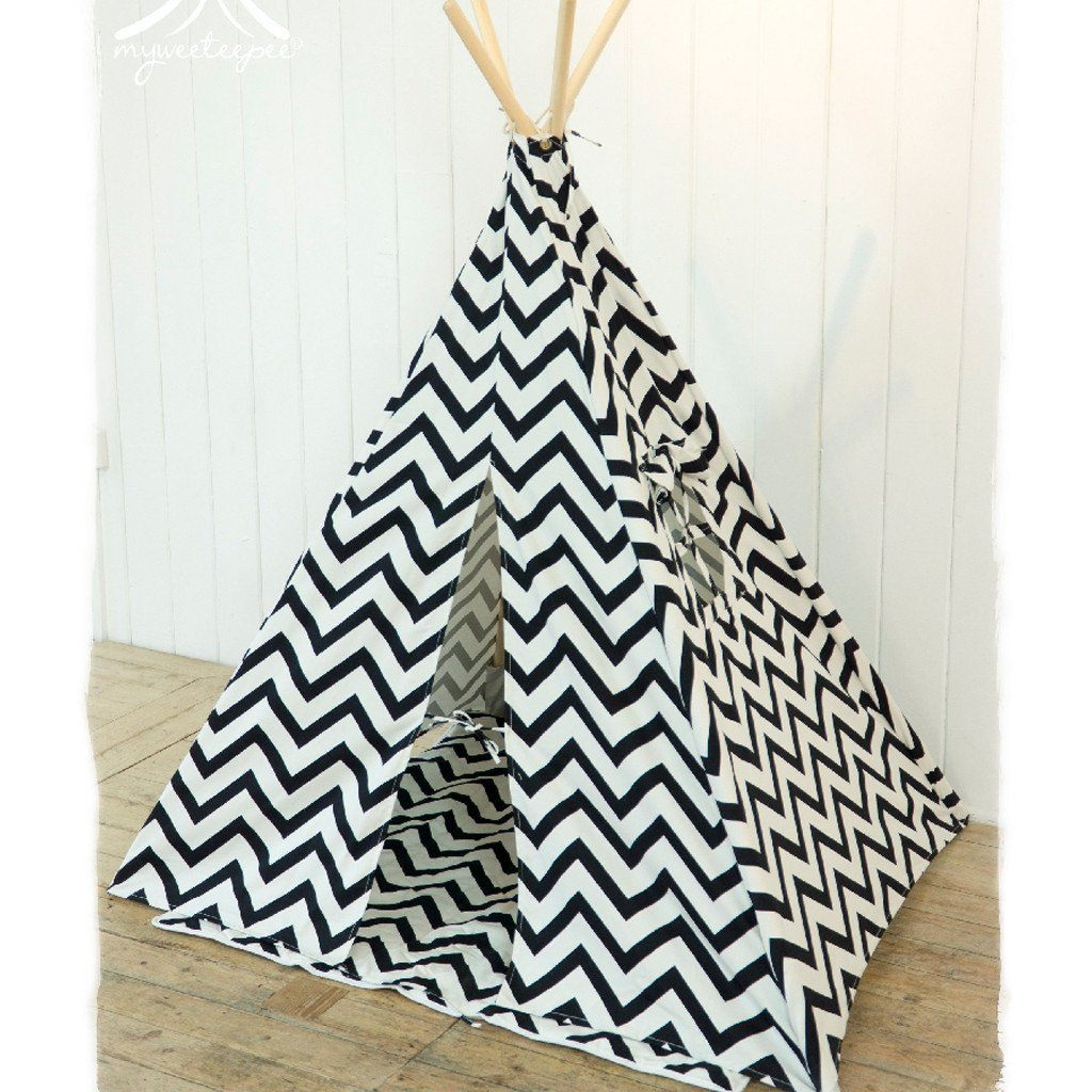 Black Chevron Teepee - souzu.co.uk