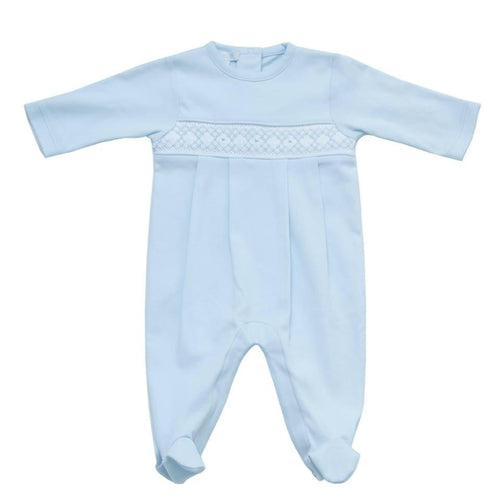 Blue Smocked Babygrow - souzu.co.uk