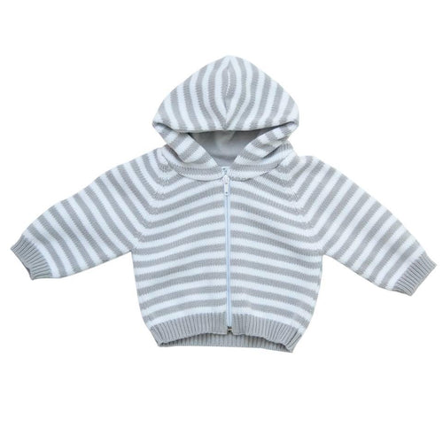 Grey Stripped Hooded Cardigan - souzu.co.uk