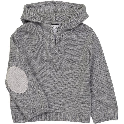 Grey Zipped Hooded Sweater