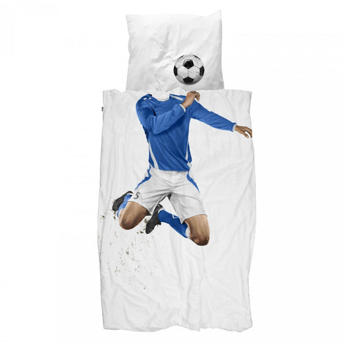 Blue Footballer Duvet & Pillow Case - souzu.co.uk