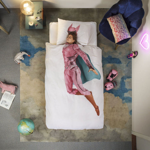 Pink Superhero Duvet Cover & Pillow Case - souzu.co.uk