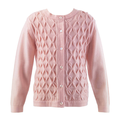 Pink Smocked Cardigan - souzu.co.uk