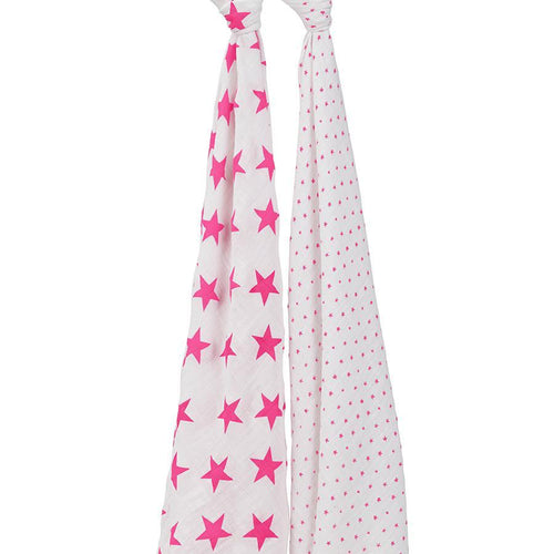 Fluro Pink 2 Pack Swaddle - souzu.co.uk