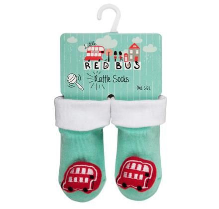 Red Bus Rattle Socks - souzu.co.uk
