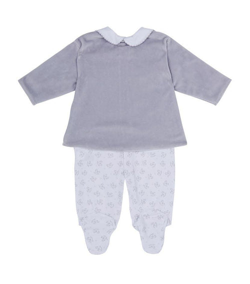 Grey Sweet Rockers Babygrow with Feet and Velour Jacket - souzu.co.uk