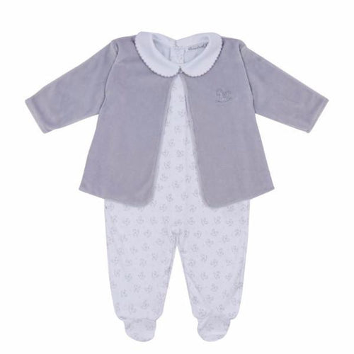 Grey Sweet Rockers Babygrow with Feet and Velour Jacket