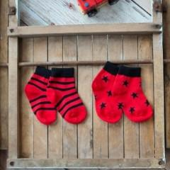 Red and Black Stars and Stripes Socks - 2 Pack - souzu.co.uk