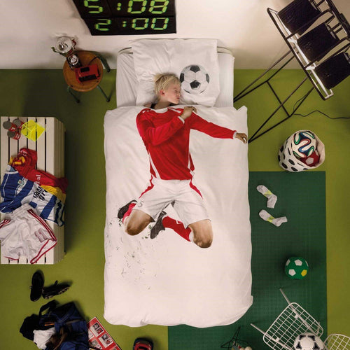 Red Footballer Duvet & Pillow Case - souzu.co.uk