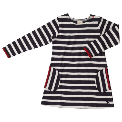 Navy Blue Stripe Dress - souzu.co.uk